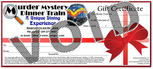 Murder Mystery Dinner Train Gift Certificate